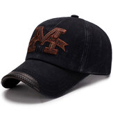Men Washed Cotton M Embroidery Baseball Cap Outdoor Sunshade Adjustable Snapback Hats