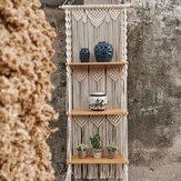 3 camadas Bohemia Macrame tecido de madeira com suporte de prateleira Tapeçaria pendurada em parede estante para decoração de casa