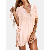 Women V-Neck Crochet Hollow Out Solid Color Sun Protection Cover Ups