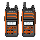 2 uds BAOFENG BF-S5plus 18W Impermeable UV Dual Banda Portátil Radio Walkie Talkie Linterna Senderismo Interphone Enchufe de la UE