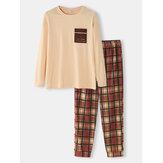 Mens Chest Pocket Plain Top Plaid Pants Loose Cotton Round Neck Home Pajamas Set