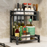 Nonslip 2/3 Tier  Spice Rack Stainless Steel Storage Shelf Organizer Holder Kitchen Rack