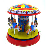 Classic Vintage Clockwork Wind Up Merry-Go-Round Kids Kids Tw zabawces With Key