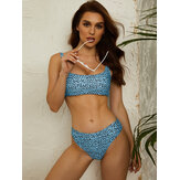Women Leopard Wide Shoulder Straps Swimsuit Backless Bikini