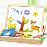 Kids Wooden Magnetic Puzzle Animals Multifunctional Educational Learning Box Double-sided Drawing Board Puzzle Toys Gifts