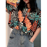Tropical Plants Floral Print Button Lapel Short Sleeve Summer Shirts For Women