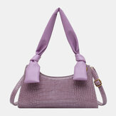 Women Solid Crocodile Pattern Shoulder Bag Handbag