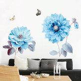 Flores azules Etiqueta de la pared Etiqueta de la habitación Sala de estar Fondo Decoraciones del dormitorio
