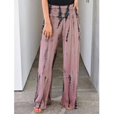 Tie-dye Printed High Waist Holiday Elegant Casual Wide Leg Pants