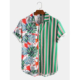 Banggood Design Men Tropical Plants Colorful Stripe Mixed Print Short Sleeve Casual Holiday Shirts