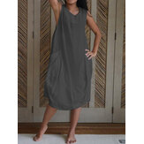 Women Cotton Sleeveless Button Side Pocket Loose Casual Dress