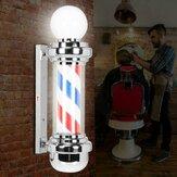LED Fryzjer Sklep Słup Czerwony Biały Niebieskie paski Obrotowy znak świetlny Lampa salon fryzjerski