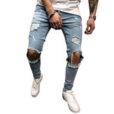 Mens Denim Pants Lubang Slim Mode Mid Rise Jeans