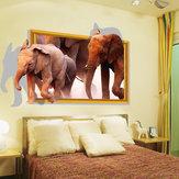 Naklejki ścienne 3d Trójwymiarowe Słoń Okno Symulacja Naklejki Naklejki Dekoracji Salonu Meble Twórcze