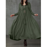 Women Vintage Solid Color Ruffles Big Swing ButtonCuffs Bandage Maxi Dress