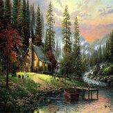 40X50CM Frameless La cabine dans les bois Toile de lin Peinture à l'huile Peinture DIY par numéros