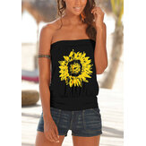 Sunflower Print Strapless Sleeveless Summer Casual Cami For Women