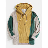 Mens Corduroy Colorblock Patchwork Button Hoodies With Kangaroo Pocket