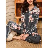 Женский цветочный принт Revere Collar с длинным рукавом на пуговицах Брюки Домашний повседневный пижамный комплект