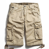 Outdoor Tamanho Grande Pure Cotton Washing Cargo Shorts