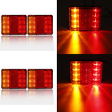 2Pcs LED Rear Tail Stop Light RED+Amber 24V/12-80V Waterproof IP65 for Trailer Truck ATV