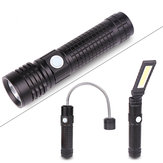XANES® 5001 3 in 1 T6+COB+XPE LED 3 Modes Detachable Head Flashlight USB Rechargeable Magnet Tail Work Light Set