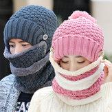Mulheres de malha de inverno Beanie Chapéu Collar Scarf Set