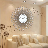 جديد فاخر الخلابة الحديد الفن معدن غرفة المعيشة جولة الماس ساعة الحائط ديكور المنزل