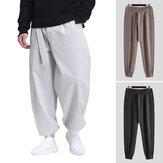 Pantalon décontracté noué en vrac de style chinois vintage pour hommes