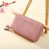 Women Double Zipper Multifunctional Medium Long Wallet