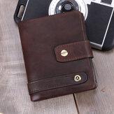 Mannen RFID Echt leer Anti-diefstal Multi-kaartsleuven Retro muntenportemonnee Opvouwbare kaarthouder Portemonnee