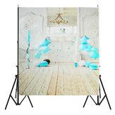 5x7FT vinyl blauwe ballon openhaard houten vloer achtergrond achtergrond Studio Prop