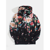 Mens Allover Floral Print Pouch Pocket Casual Drawstring Hoodies