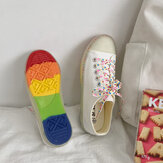 Women Canvas Low Top Rainbow Sole Casual Student Flats