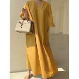 Women Summer Solid Color Puff Sleeve Loose Maxi Dress with Pockets