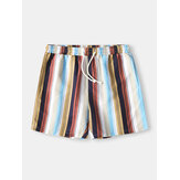 Shorts de vacaciones para hombre Colorful Shorts de secado rápido transpirables con estampado de rayas Playa Shorts