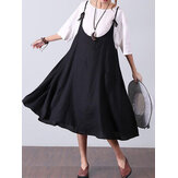 Women Sleeveless Straps Swing Hem Solid A-line Dress