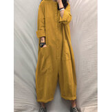 Women Stand Collar Button Front Casual Long Sleeve Jumpsuits With Pocket
