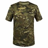 Summer Racing Sports Army Camo Tee Camuflaje Camisetas Manga corta Caza informal