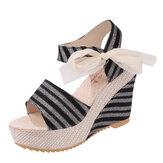 Frauen Summer Beach Sandalen Peep Toe Wadge Schuhe Zauberstab Sandalen