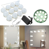 Hollywood Style 12Bulbs Blanc LED Vanity Mirror Lights Kit + US Adaptateur + Gradateur DC12V
