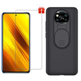 NILLKIN for POCO X3 NFC Accessories Bumper with Slide Lens Cover Protective Case + Bakeey Anti-Explosion Tempered Glass Screen Protector Non-Original