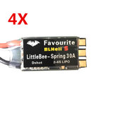 4X Favourite FVT LittleBee Spring 30A ESC BLHeli_S OPTO 2-6S Suporte Mulitshot Oneshot para RC Drone FPV Racing