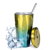 Portable Travel Mug Stainless Steel Tumbler Coffee Ice Cup With Drinking Straw and Straw Brush