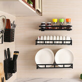 Kitchen Plate Racks Stainless Steel Shelf Dishes Bowl Spice Storage Wall Mounted Storage Shelves