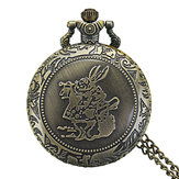 DEFFRUN Fashion Rabbit Pattern Chain Quartz Pocket Watch