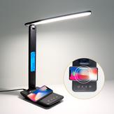 Lámpara de escritorio LED de carga inalámbrica QI de 10 W con calendario, temperatura, reloj despertador, protección ocular, lámpara de mesa con luz de lectura