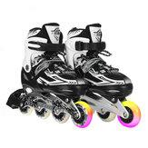 أحذية تزلج مضمنة مضيئة للأطفال البالغين ، زلاجات دوارة للمبتدئين 4 تروس قابلة للتعديل ، أحذية تزلج قابلة للتنفس مع عجلات مضيئة