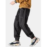 Mens Seam Loose Drawstring Jogger Pants With Large Pocket
