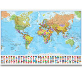 Large World Map Hanging Picture Foldable Non-woven Canvas Painting Wall World Map Poster Home Decoration School Living Room Supplies